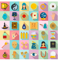 Magic fortune teller icons set flat style vector