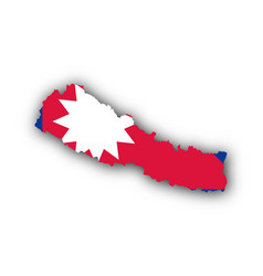 map and flag of nepal vector image