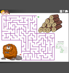 Maze educational game with beaver and wood logs vector