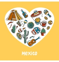 Mexico Colored Doodles Collection vector image