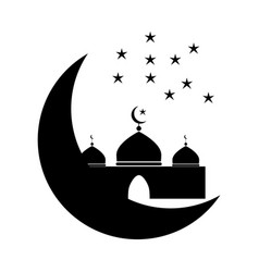 Mosque with crescent and multiple stars black vector