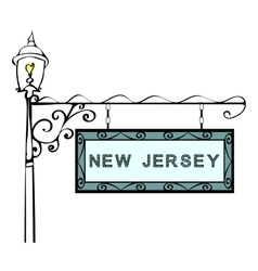 New Jersey retro pointer lamppost vector
