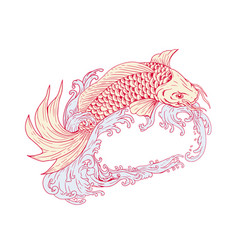 Nishikigoi koi jumping waves drawing vector