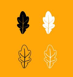 oak leaf black and white set icon vector image vector image