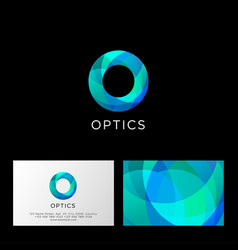 optics logo o letter monogram violet vector image