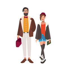 Pair stylish hipsters young man and woman vector