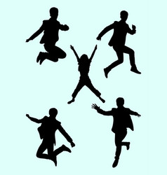 people jumping silhouette 01 vector image