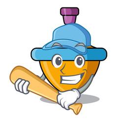 Playing baseball spinning top character cartoon vector