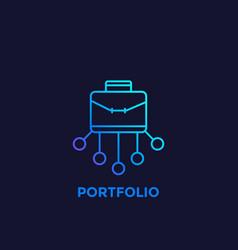 Portfolio icon in linear style vector