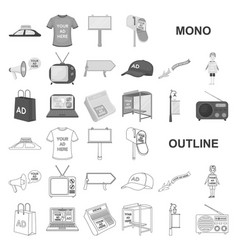 Production of advertising monochrom icons in set vector