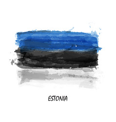 realistic watercolor painting flag of estonia vector image