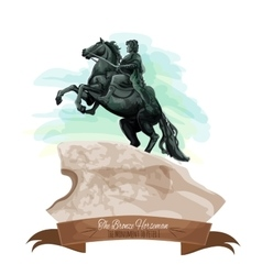 Russian travel sight icon with The Bronze Horseman vector