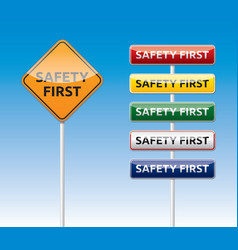 Safety first traffic board collection vector image vector image