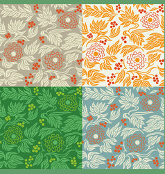 seamless floral pattern 3 in 4 color variations vector image