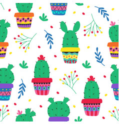 seamless pattern with cacti in colorful pots vector image