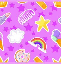 Seamless pattern with lipstick stars vector