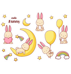 Set cute kawaii hand drawn bunny doodles isolated vector