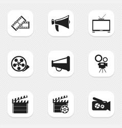 Set of 9 editable cinema icons includes symbols vector