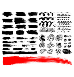 Set of brush acrylic strokes black red vector