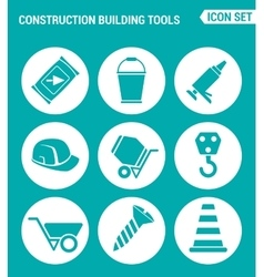 set of round icons white Construction Building vector image