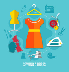 Sewing a dress concept vector