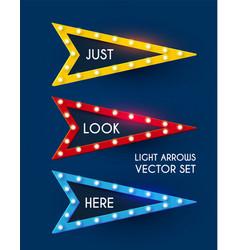 shining retro light sing set vintage banner vector image