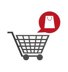 shopping cart and bag bubble vector image