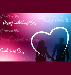 silhouette couple holding hands over heart shape vector image