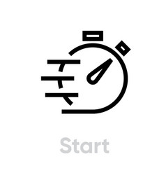 Start stopwatch fast timer icon vector