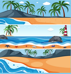 Summer sea landscape template vector