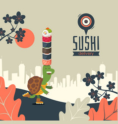 sushi delivery banner vector image