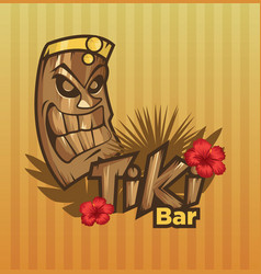 Tiki tribal mask tiki bar banner vector