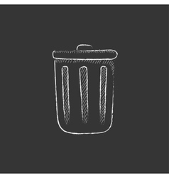 Trash can Drawn in chalk icon vector image