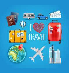 Travel accessories collection vector