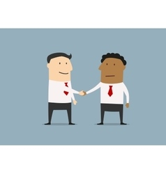 Two cartoon businessmen shaking hands vector image