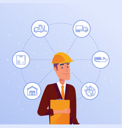 warehouse manager choosing logisitics options vector image