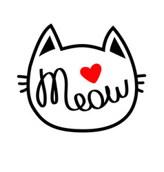 White cat head silhouette shape meow lettering vector