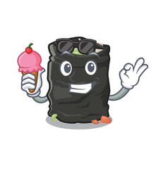 With ice cream garbage bag in cartoon shape vector