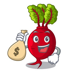 With money bag cartoon fresh harvested beetroots vector
