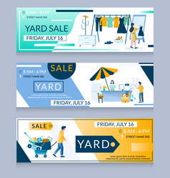 Yard sale web banner template set vector
