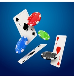 Casino poker design template Falling poker cards vector image