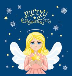 christmas angel with star vector image