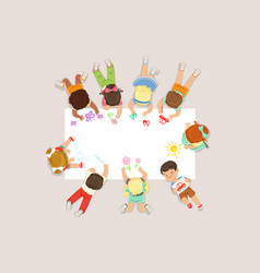 cute litttle kids lying and drawing on big paper vector image vector image