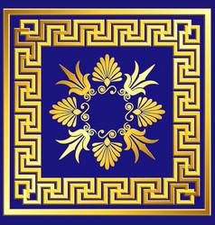 golden square frame with greek meander pattern vector image vector image