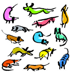 hand drawn doodle dachshund dogs artistic canine vector image vector image