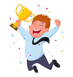 happy businessman with trophy and confetti vector image vector image