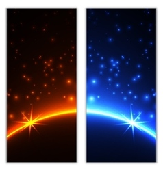 Space planet in the rays of light vector image