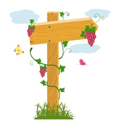 Wooden arrow and grapes vector image