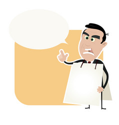 angry white business man holding a sandwich board vector image