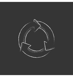 Arrows circle Drawn in chalk icon vector image